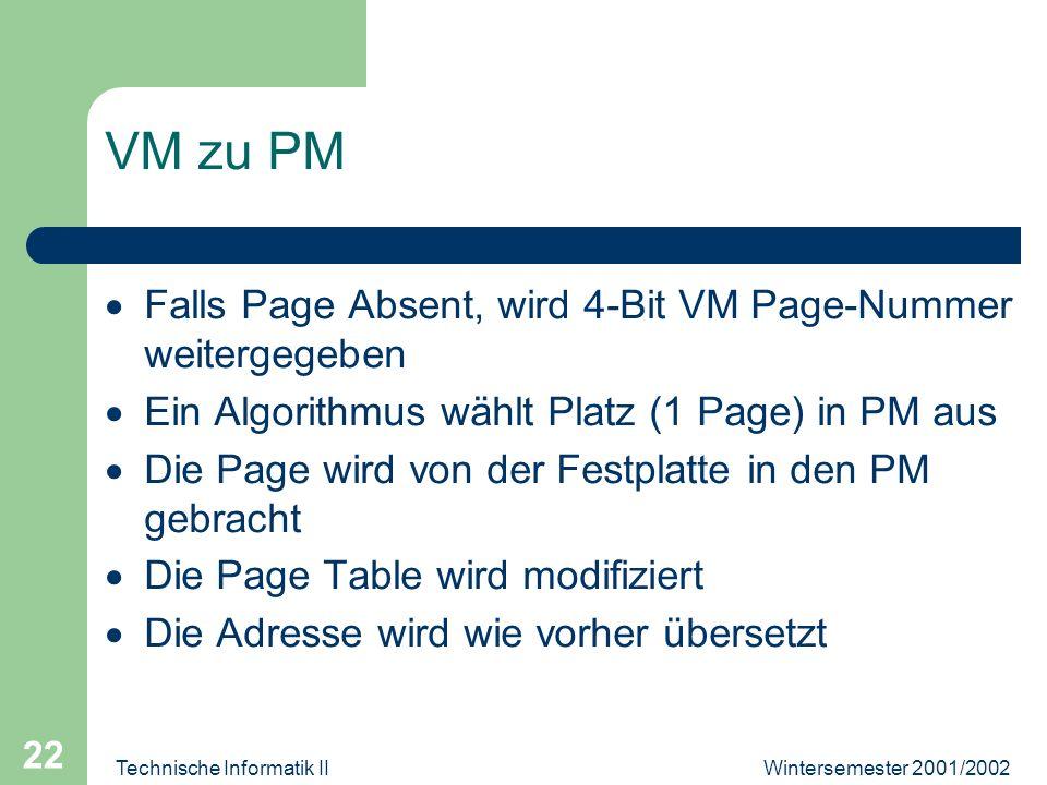 Wintersemester 2001/2002Technische Informatik II 22 VM zu PM Falls Page Absent, wird 4-Bit VM Page-Nummer weitergegeben Ein Algorithmus wählt Platz (1