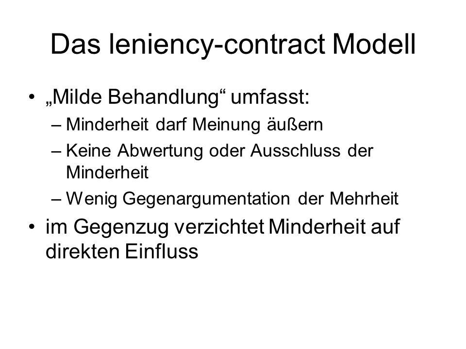 Das leniency-contract Modell Milde Behandlung umfasst: –Minderheit darf Meinung äußern –Keine Abwertung oder Ausschluss der Minderheit –Wenig Gegenarg