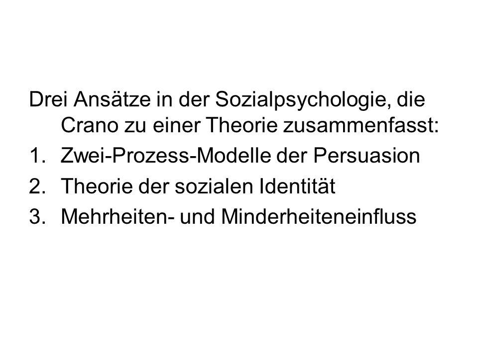 Drei Ansätze in der Sozialpsychologie, die Crano zu einer Theorie zusammenfasst: 1.Zwei-Prozess-Modelle der Persuasion 2.Theorie der sozialen Identitä