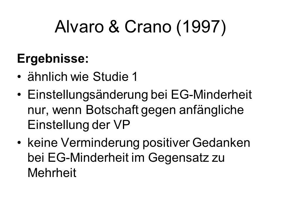 Alvaro & Crano (1997) Ergebnisse: ähnlich wie Studie 1 Einstellungsänderung bei EG-Minderheit nur, wenn Botschaft gegen anfängliche Einstellung der VP