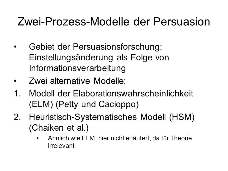 Zwei-Prozess-Modelle der Persuasion Gebiet der Persuasionsforschung: Einstellungsänderung als Folge von Informationsverarbeitung Zwei alternative Mode