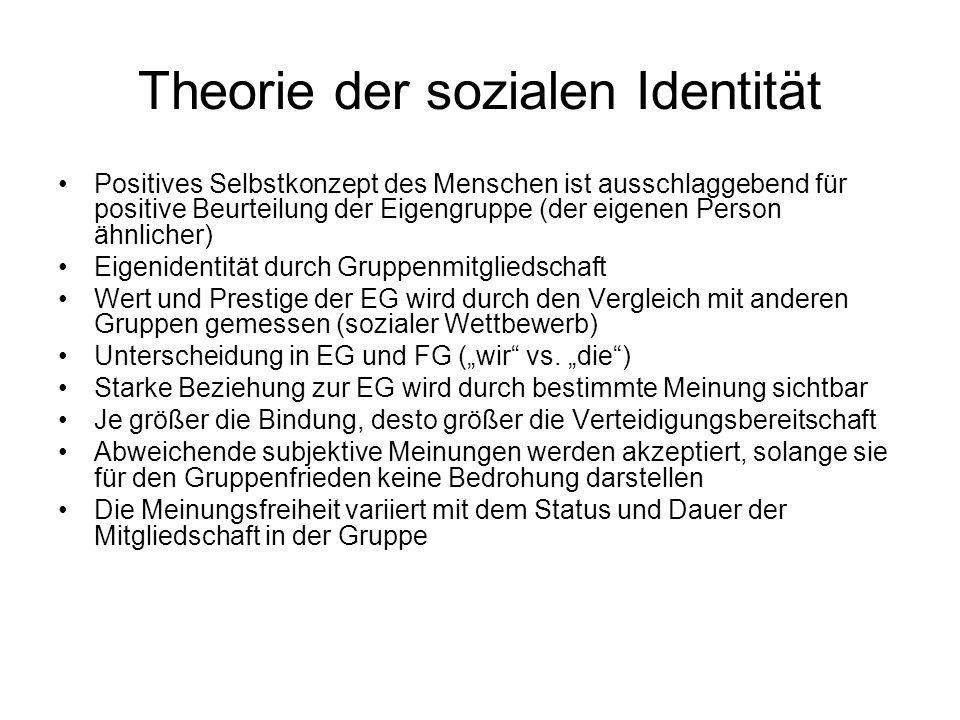 Theorie der sozialen Identität Positives Selbstkonzept des Menschen ist ausschlaggebend für positive Beurteilung der Eigengruppe (der eigenen Person ä