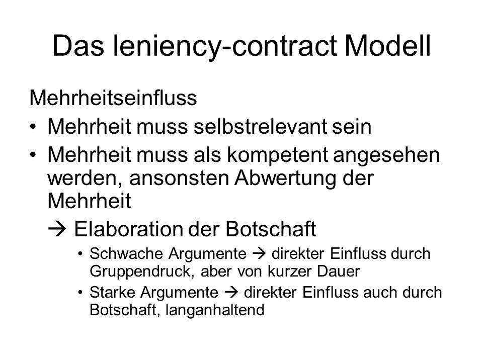 Das leniency-contract Modell Mehrheitseinfluss Mehrheit muss selbstrelevant sein Mehrheit muss als kompetent angesehen werden, ansonsten Abwertung der
