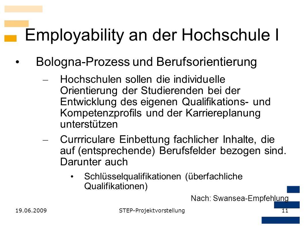 19.06.2009STEP-Projektvorstellung11 Employability an der Hochschule I Bologna-Prozess und Berufsorientierung – Hochschulen sollen die individuelle Ori