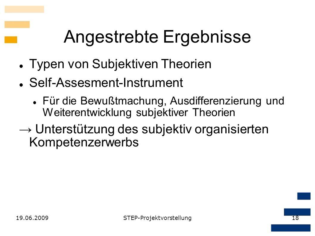 19.06.2009STEP-Projektvorstellung18 Angestrebte Ergebnisse Typen von Subjektiven Theorien Self-Assesment-Instrument Für die Bewußtmachung, Ausdifferen