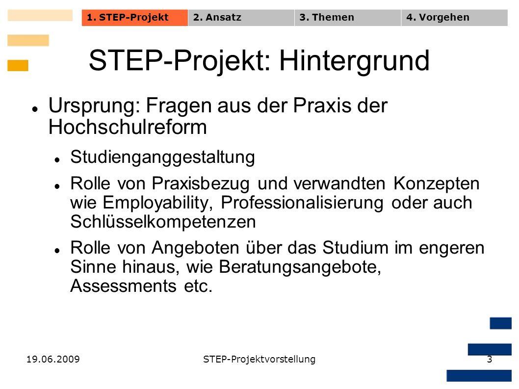 19.06.2009STEP-Projektvorstellung3 STEP-Projekt: Hintergrund Ursprung: Fragen aus der Praxis der Hochschulreform Studienganggestaltung Rolle von Praxi