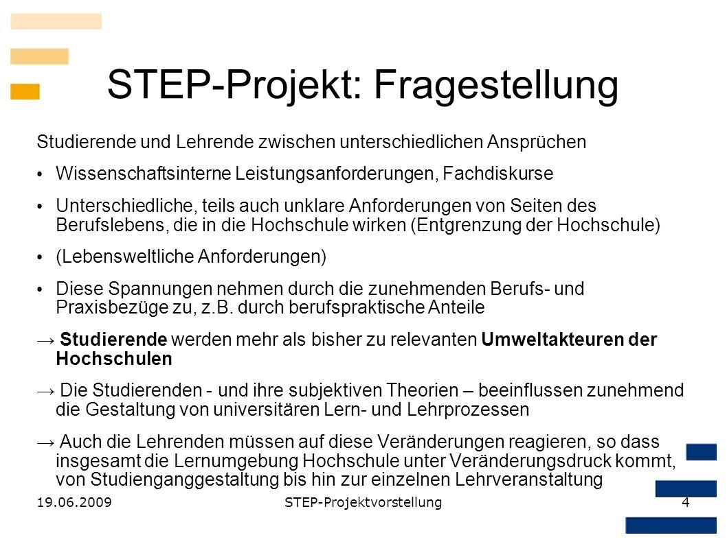 19.06.2009STEP-Projektvorstellung4 STEP-Projekt: Fragestellung Studierende und Lehrende zwischen unterschiedlichen Ansprüchen Wissenschaftsinterne Lei