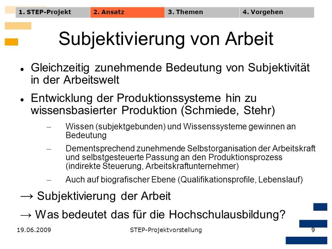 19.06.2009STEP-Projektvorstellung9 Subjektivierung von Arbeit Gleichzeitig zunehmende Bedeutung von Subjektivität in der Arbeitswelt Entwicklung der P