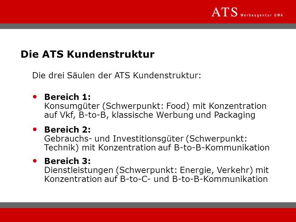 Die ATS Kundenstruktur Die drei Säulen der ATS Kundenstruktur: Bereich 1: Konsumgüter (Schwerpunkt: Food) mit Konzentration auf Vkf, B-to-B, klassisch