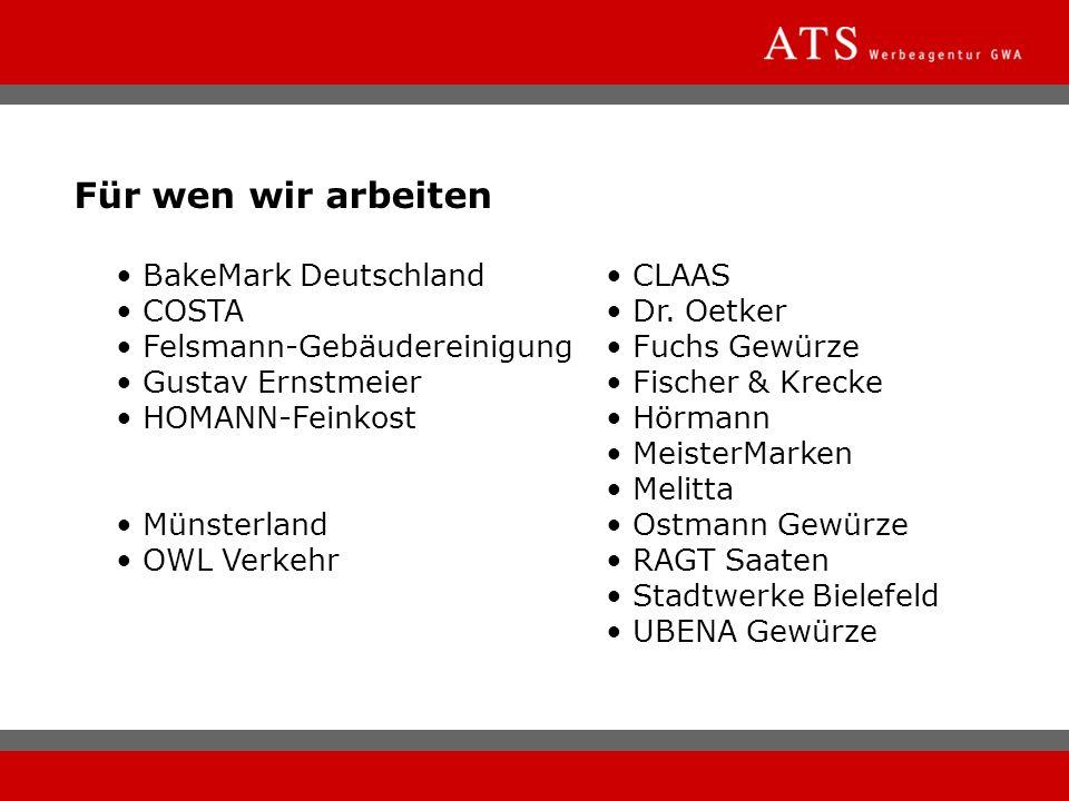 BakeMark Deutschland CLAAS COSTA Dr. Oetker Felsmann-Gebäudereinigung Fuchs Gewürze Gustav Ernstmeier Fischer & Krecke HOMANN-Feinkost Hörmann Meister