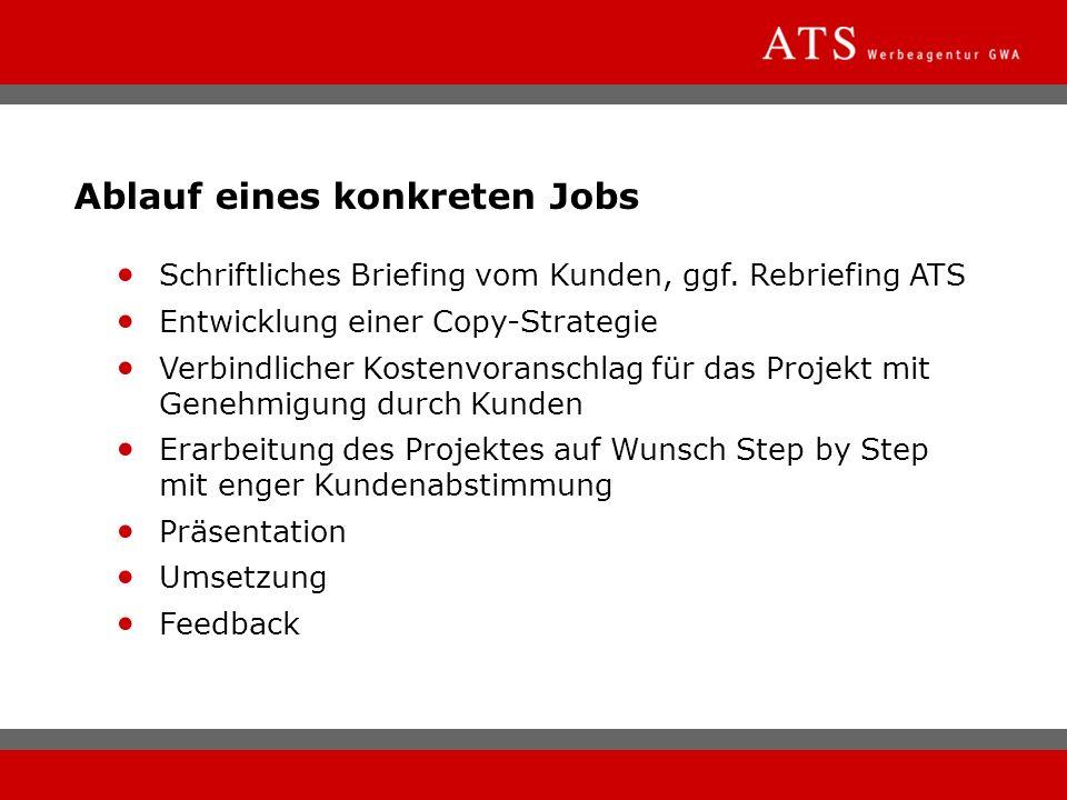 Ablauf eines konkreten Jobs Schriftliches Briefing vom Kunden, ggf. Rebriefing ATS Entwicklung einer Copy-Strategie Verbindlicher Kostenvoranschlag fü