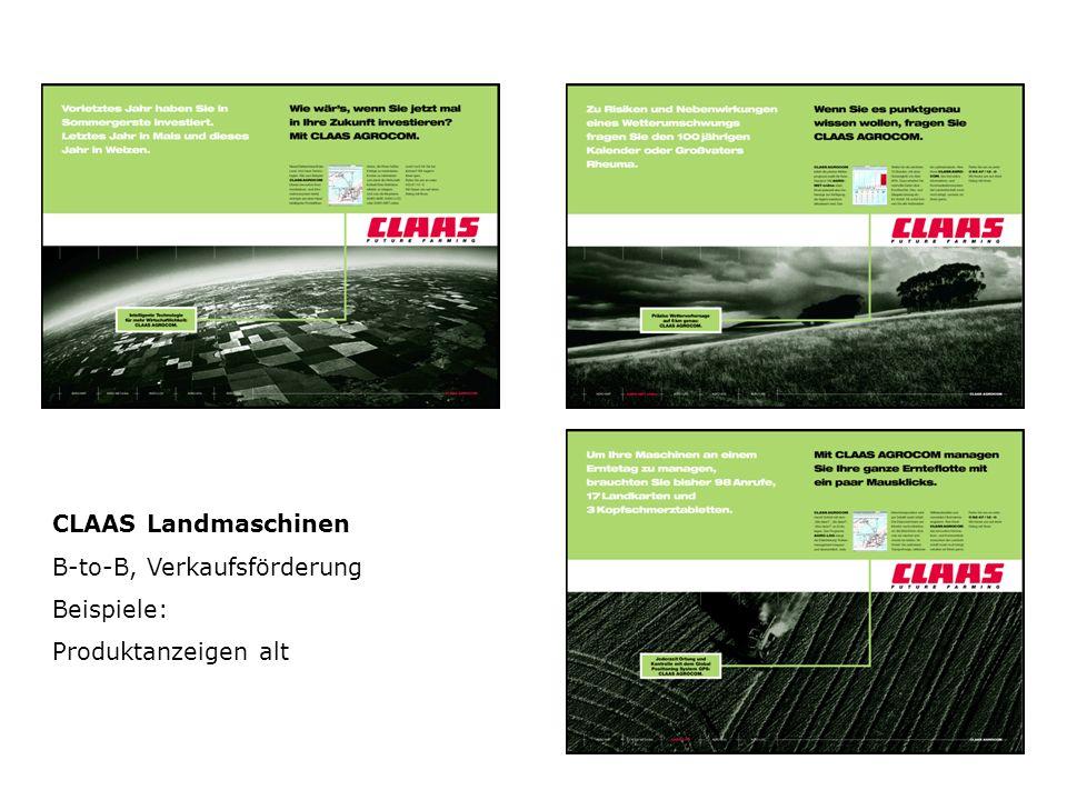 CLAAS Landmaschinen B-to-B, Verkaufsförderung Beispiele: Produktanzeigen alt