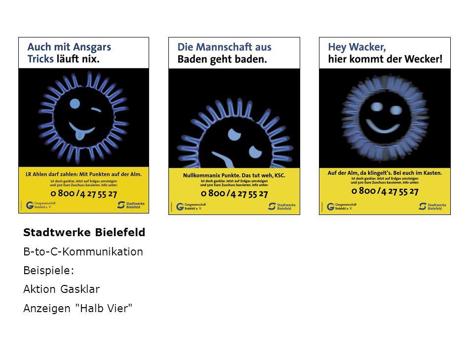 Stadtwerke Bielefeld B-to-C-Kommunikation Beispiele: Aktion Gasklar Anzeigen