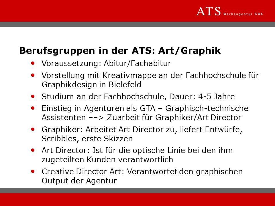 Berufsgruppen in der ATS: Art/Graphik Voraussetzung: Abitur/Fachabitur Vorstellung mit Kreativmappe an der Fachhochschule für Graphikdesign in Bielefe