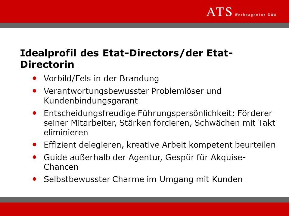 Idealprofil des Etat-Directors/der Etat- Directorin Vorbild/Fels in der Brandung Verantwortungsbewusster Problemlöser und Kundenbindungsgarant Entsche