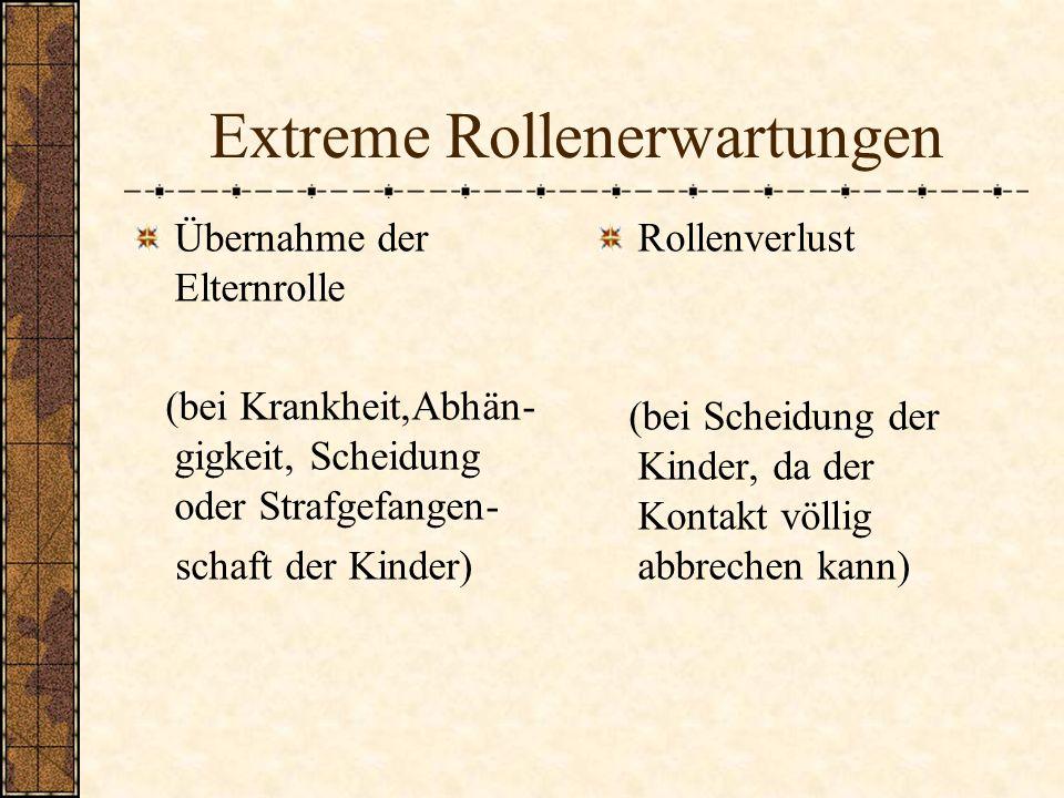 Extreme Rollenerwartungen Übernahme der Elternrolle (bei Krankheit,Abhän- gigkeit, Scheidung oder Strafgefangen- schaft der Kinder) Rollenverlust (bei