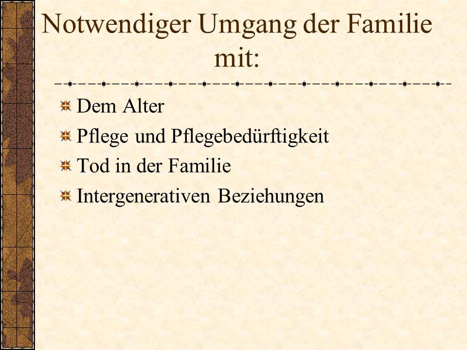 Notwendiger Umgang der Familie mit: Dem Alter Pflege und Pflegebedürftigkeit Tod in der Familie Intergenerativen Beziehungen