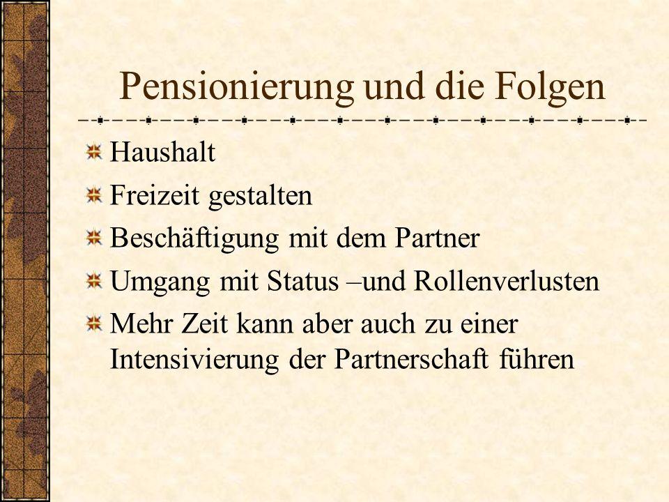Pensionierung und die Folgen Haushalt Freizeit gestalten Beschäftigung mit dem Partner Umgang mit Status –und Rollenverlusten Mehr Zeit kann aber auch
