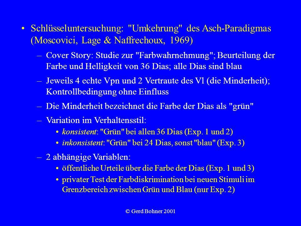 © Gerd Bohner 2001 Schlüsseluntersuchung: