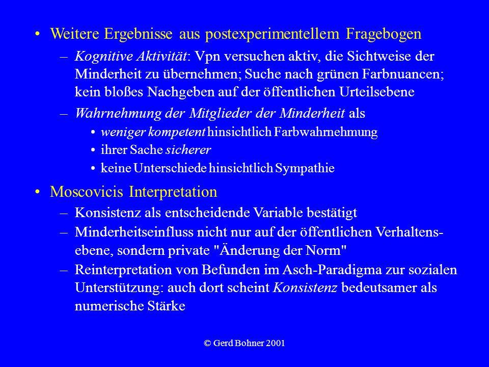 © Gerd Bohner 2001 Weitere Ergebnisse aus postexperimentellem Fragebogen –Kognitive Aktivität: Vpn versuchen aktiv, die Sichtweise der Minderheit zu ü