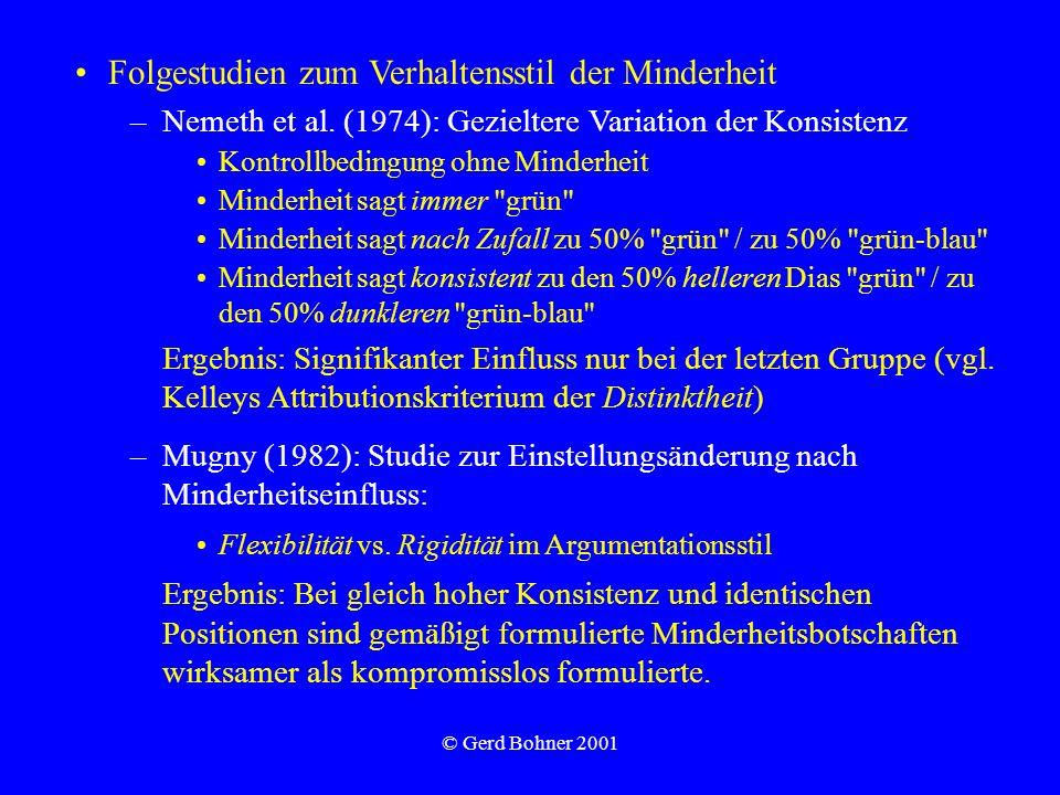 © Gerd Bohner 2001 Folgestudien zum Verhaltensstil der Minderheit –Nemeth et al. (1974): Gezieltere Variation der Konsistenz Kontrollbedingung ohne Mi