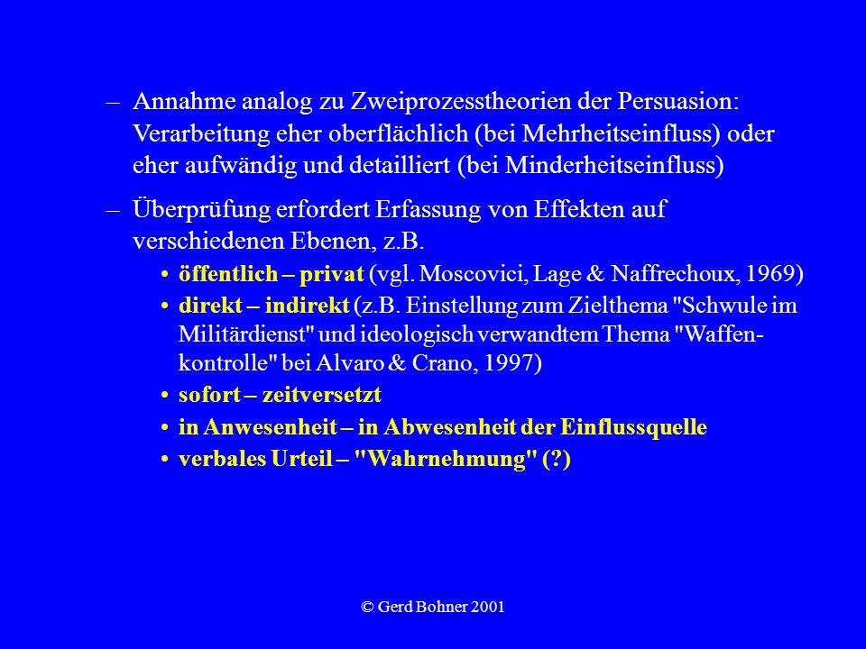 © Gerd Bohner 2001 –Annahme analog zu Zweiprozesstheorien der Persuasion: Verarbeitung eher oberflächlich (bei Mehrheitseinfluss) oder eher aufwändig