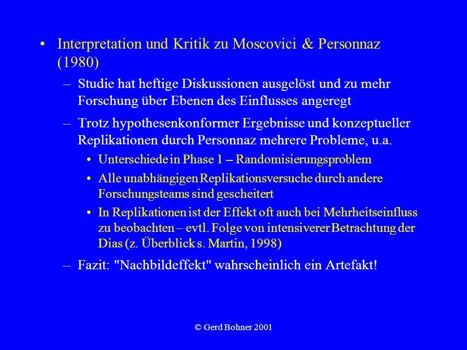 © Gerd Bohner 2001 Interpretation und Kritik zu Moscovici & Personnaz (1980) –Studie hat heftige Diskussionen ausgelöst und zu mehr Forschung über Ebe