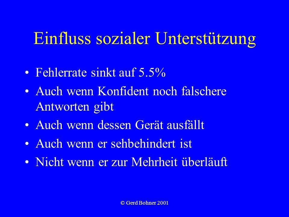 © Gerd Bohner 2001 Einfluss sozialer Unterstützung Fehlerrate sinkt auf 5.5% Auch wenn Konfident noch falschere Antworten gibt Auch wenn dessen Gerät