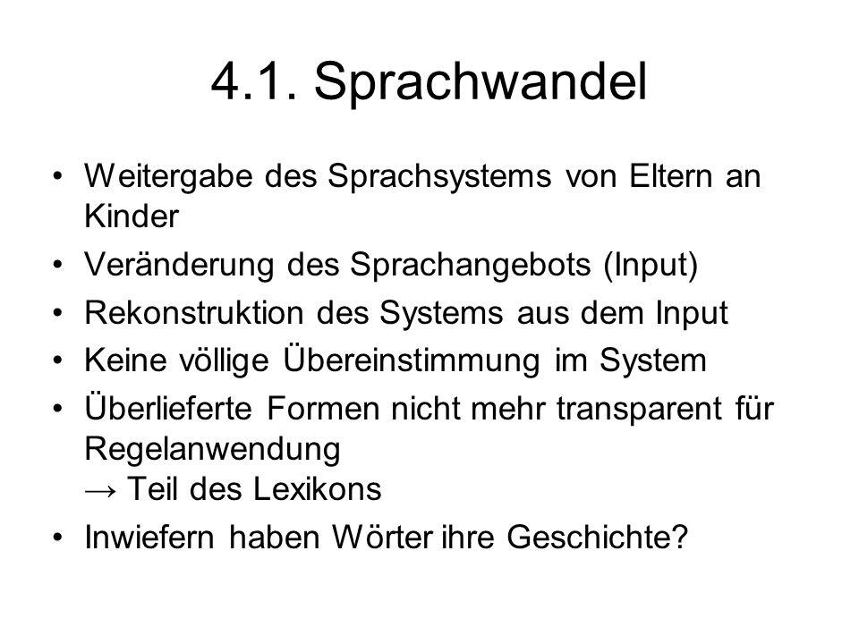 4.1. Sprachwandel Weitergabe des Sprachsystems von Eltern an Kinder Veränderung des Sprachangebots (Input) Rekonstruktion des Systems aus dem Input Ke