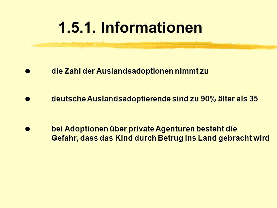 1.5. Auslandsadoption Adoption eines Kindes aus dem Ausland über eine Adoptionsvermittlungsstelle Einwilligung der leiblichen Eltern (in vorgeschriebe