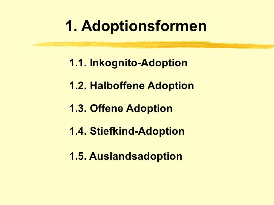 1.Adoptionsformen 1.1. Inkognito-Adoption 1.2. Halboffene Adoption 1.3.