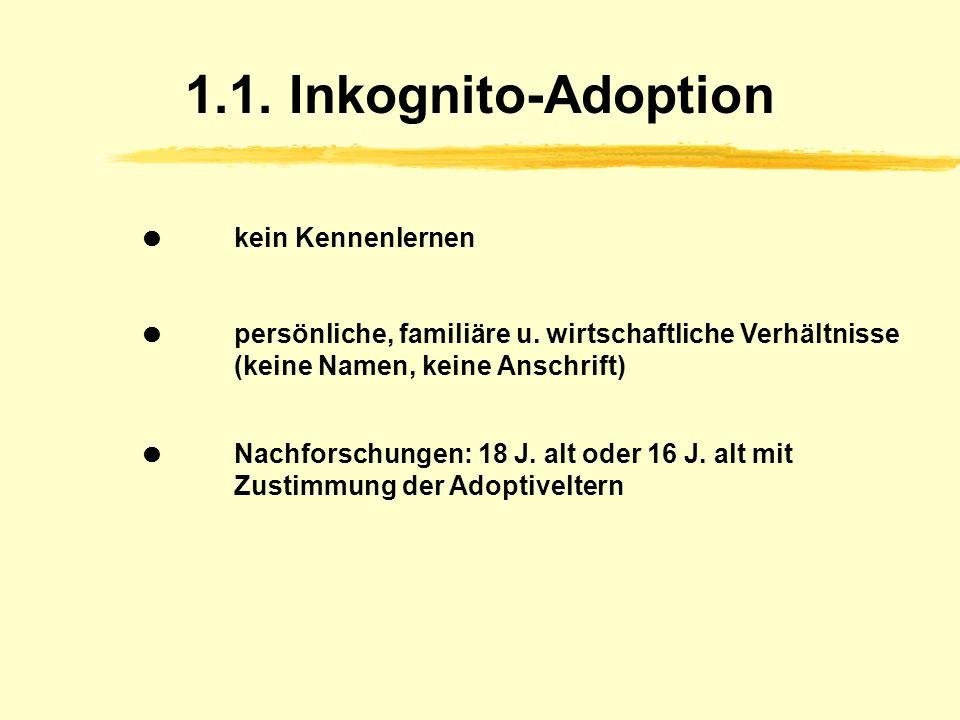 1.1.Inkognito-Adoption kein Kennenlernen persönliche, familiäre u.