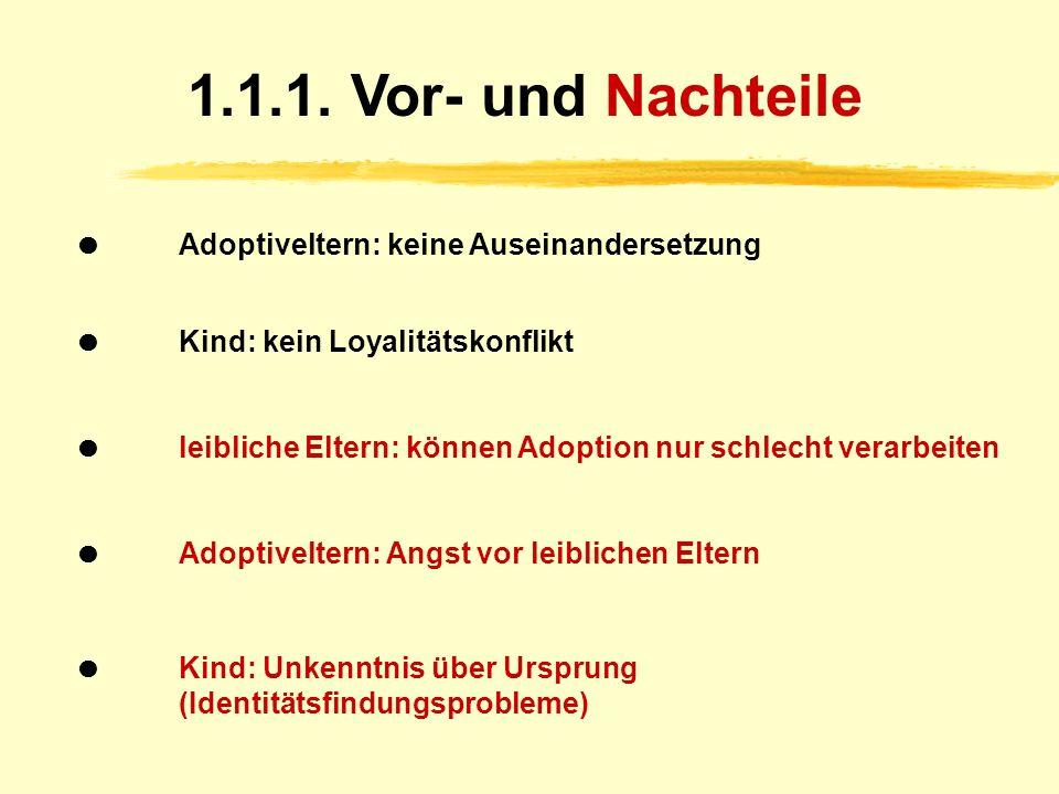 1.1. Inkognito-Adoption kein Kennenlernen persönliche, familiäre u. wirtschaftliche Verhältnisse (keine Namen, keine Anschrift) Nachforschungen: 18 J.