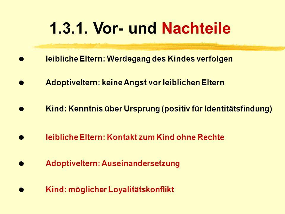 1.3. Offene Adoption Kennenlernen (mit Namen, Anschrift etc.) Kontakt besteht außerhalb des Jugendamtes