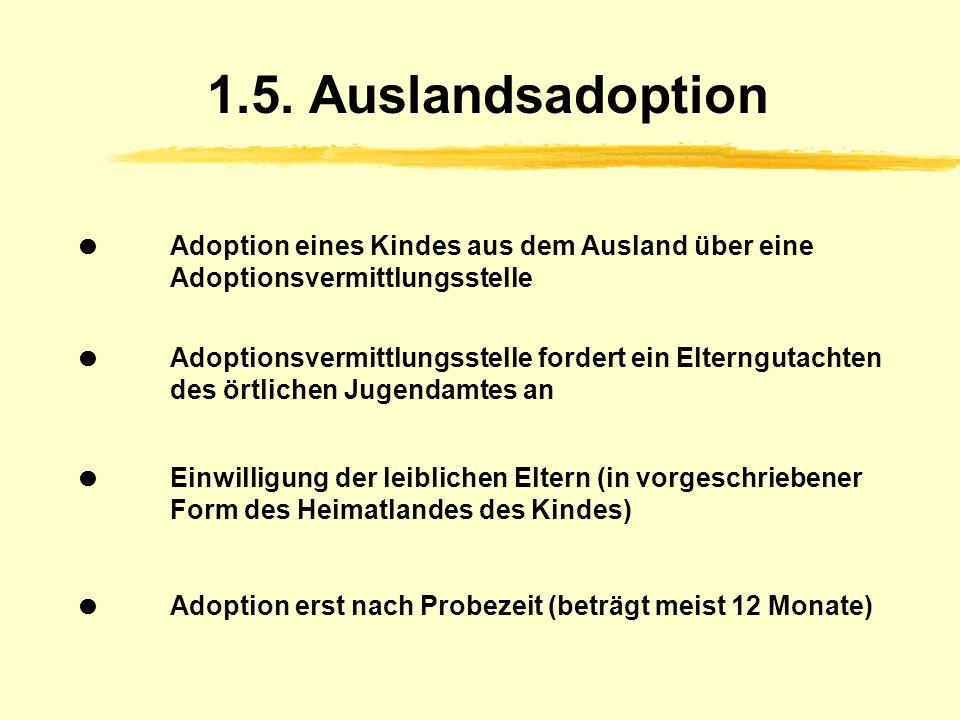 1.4. Stiefkind-Adoption Ehepartner adoptiert das Kind seiner Ehefrau oder seines Ehemannes ab 14 Jahren ist die Einwilligung des Kindes notwendig