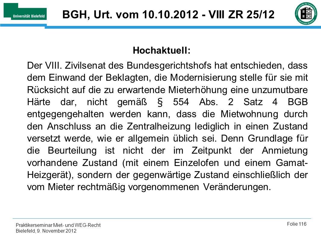 Praktikerseminar Miet- und WEG-Recht Bielefeld, 9.