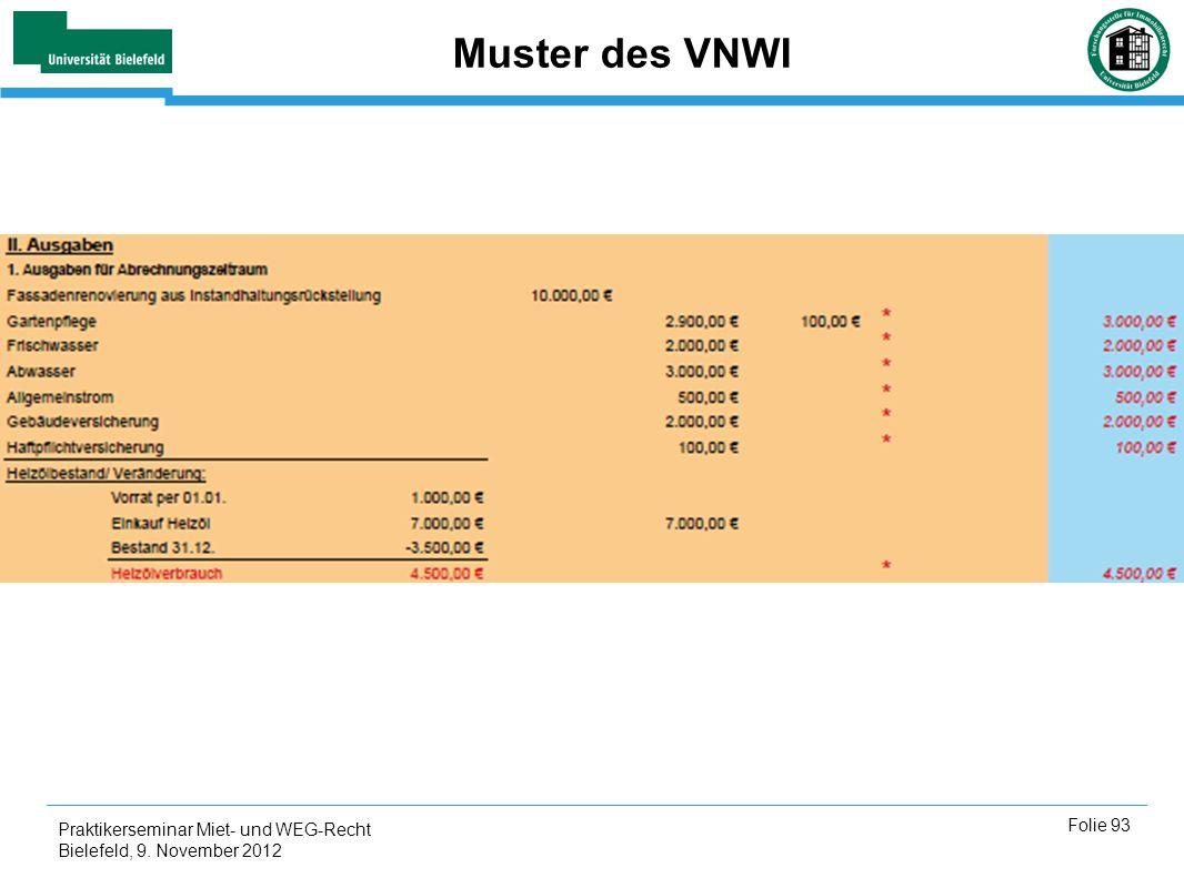 Praktikerseminar Miet- und WEG-Recht Bielefeld, 9. November 2012 Folie 93 Muster des VNWI