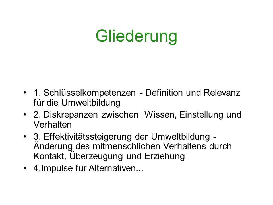 Gliederung 1.Schlüsselkompetenzen - Definition und Relevanz für die Umweltbildung 2.