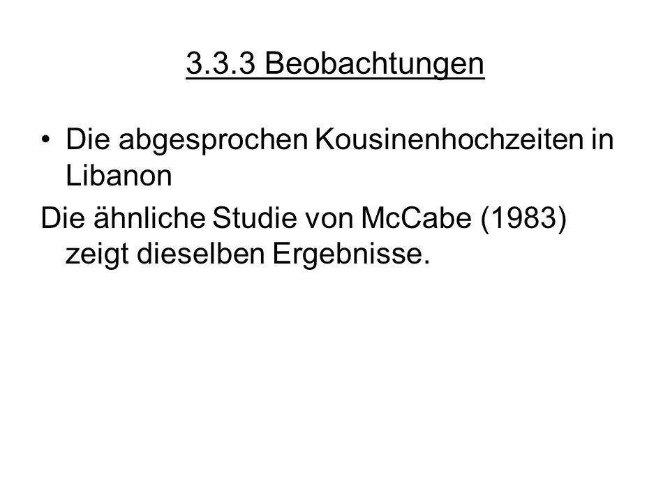 3.3.3 Beobachtungen Die abgesprochen Kousinenhochzeiten in Libanon Die ähnliche Studie von McCabe (1983) zeigt dieselben Ergebnisse.