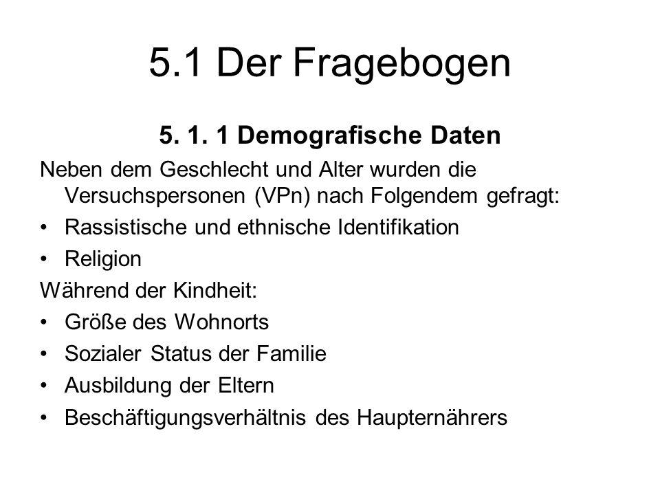 5.1 Der Fragebogen 5. 1. 1 Demografische Daten Neben dem Geschlecht und Alter wurden die Versuchspersonen (VPn) nach Folgendem gefragt: Rassistische u