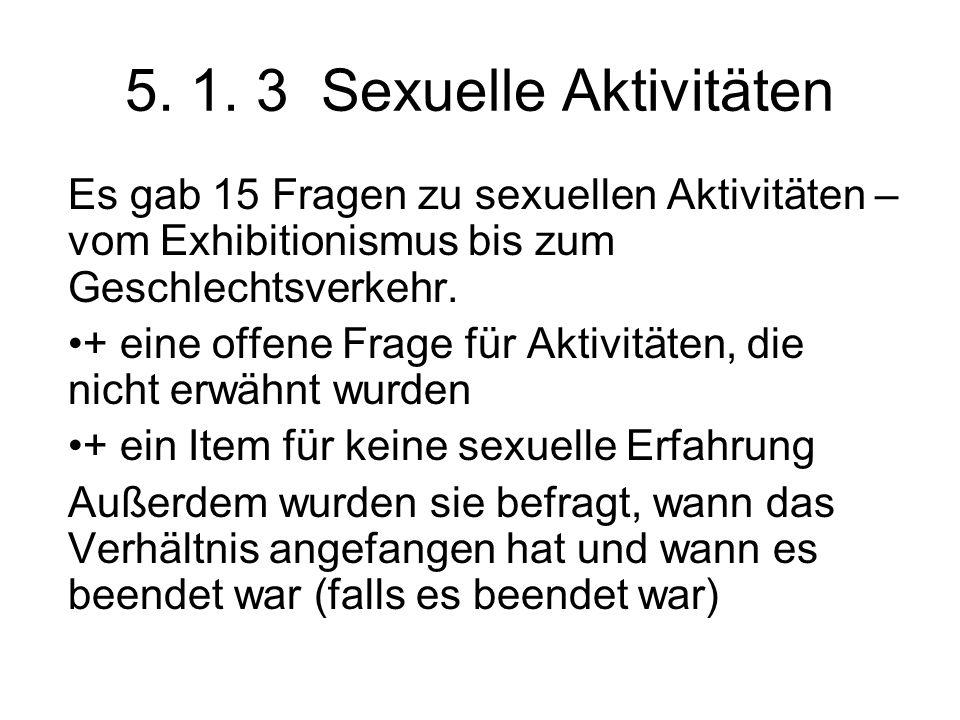 5. 1. 3 Sexuelle Aktivitäten Es gab 15 Fragen zu sexuellen Aktivitäten – vom Exhibitionismus bis zum Geschlechtsverkehr. + eine offene Frage für Aktiv