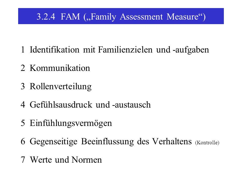 3.2.4FAM (Family Assessment Measure) 1Identifikation mit Familienzielen und -aufgaben 2Kommunikation 3Rollenverteilung 4Gefühlsausdruck und -austausch 5Einfühlungsvermögen 6Gegenseitige Beeinflussung des Verhaltens (Kontrolle) 7Werte und Normen
