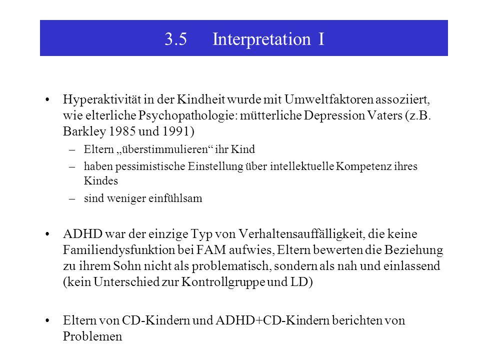 3.5Interpretation I Hyperaktivität in der Kindheit wurde mit Umweltfaktoren assoziiert, wie elterliche Psychopathologie: mütterliche Depression Vaters (z.B.