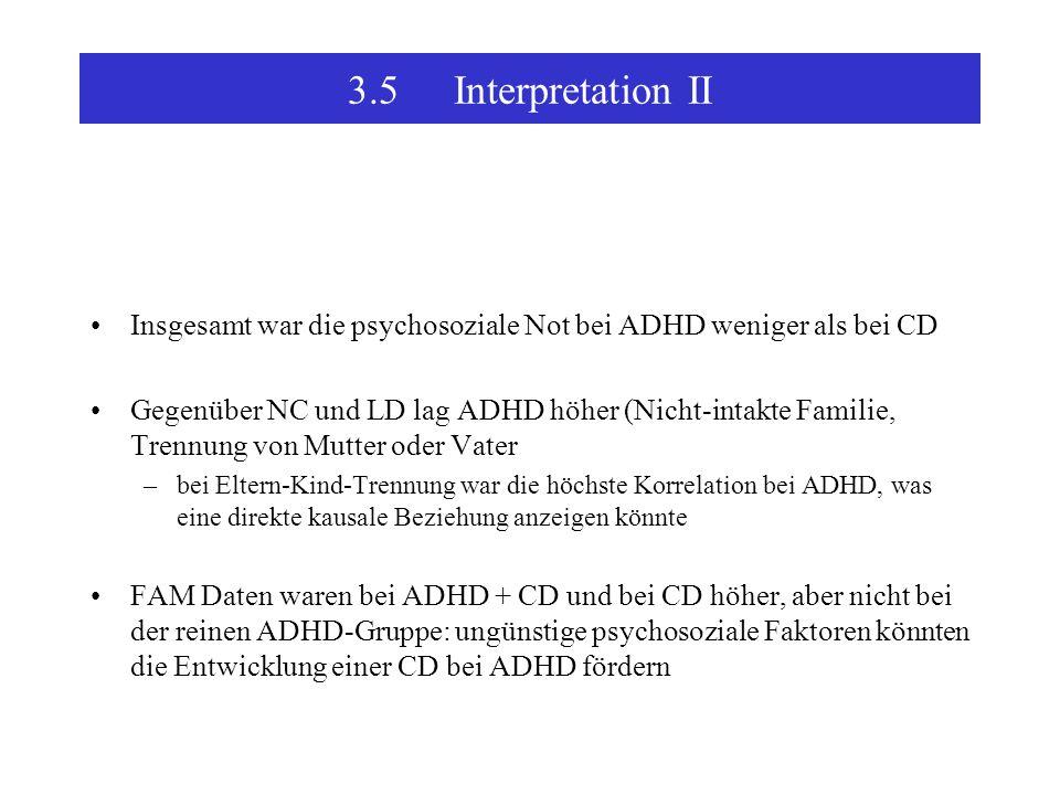 3.5Interpretation II Insgesamt war die psychosoziale Not bei ADHD weniger als bei CD Gegenüber NC und LD lag ADHD höher (Nicht-intakte Familie, Trennung von Mutter oder Vater –bei Eltern-Kind-Trennung war die höchste Korrelation bei ADHD, was eine direkte kausale Beziehung anzeigen könnte FAM Daten waren bei ADHD + CD und bei CD höher, aber nicht bei der reinen ADHD-Gruppe: ungünstige psychosoziale Faktoren könnten die Entwicklung einer CD bei ADHD fördern