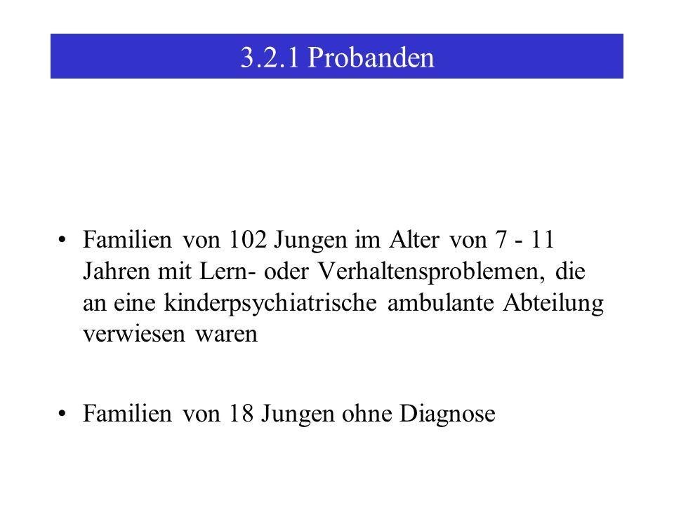3.2.1Probanden Familien von 102 Jungen im Alter von 7 - 11 Jahren mit Lern- oder Verhaltensproblemen, die an eine kinderpsychiatrische ambulante Abteilung verwiesen waren Familien von 18 Jungen ohne Diagnose