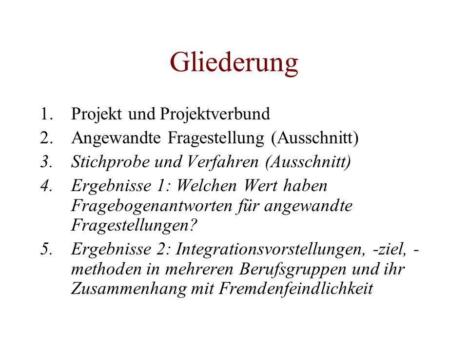 Gliederung 1.Projekt und Projektverbund 2.Angewandte Fragestellung (Ausschnitt) 3.Stichprobe und Verfahren (Ausschnitt) 4.Ergebnisse 1: Welchen Wert h