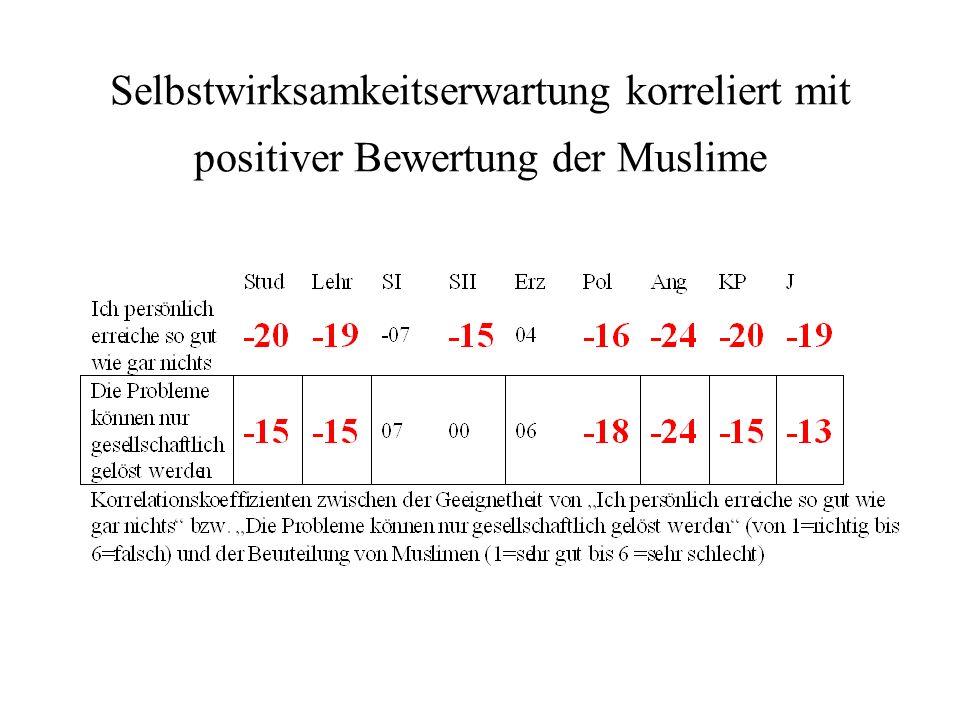 Selbstwirksamkeitserwartung korreliert mit positiver Bewertung der Muslime