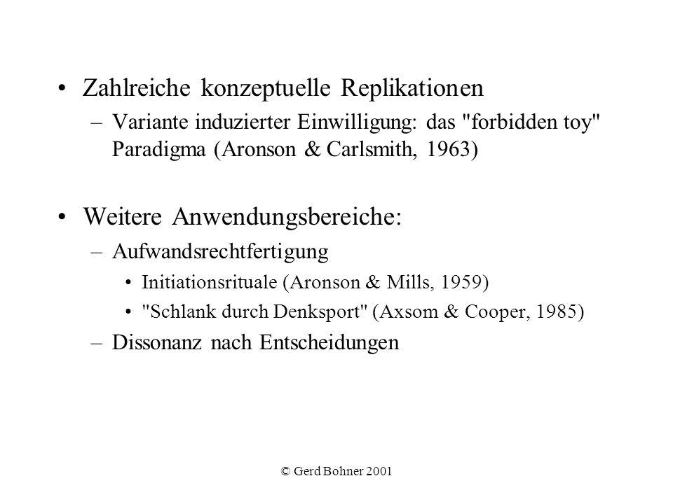 © Gerd Bohner 2001 Zahlreiche konzeptuelle Replikationen –Variante induzierter Einwilligung: das