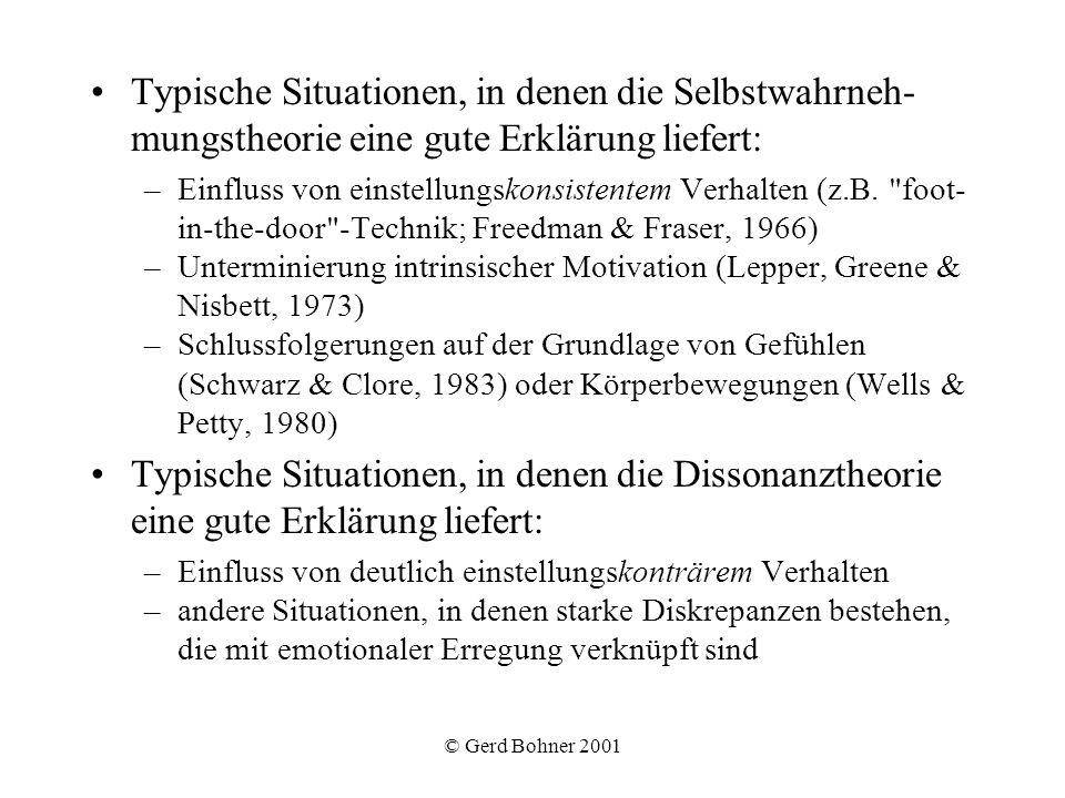 © Gerd Bohner 2001 Typische Situationen, in denen die Selbstwahrneh- mungstheorie eine gute Erklärung liefert: –Einfluss von einstellungskonsistentem