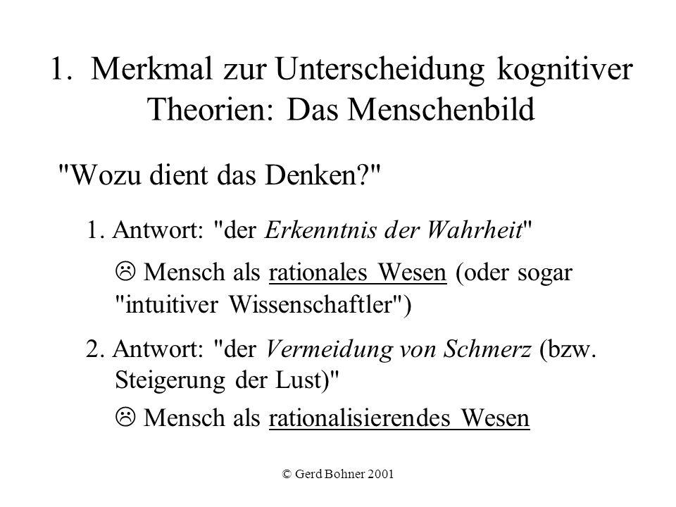 © Gerd Bohner 2001 1. Merkmal zur Unterscheidung kognitiver Theorien: Das Menschenbild